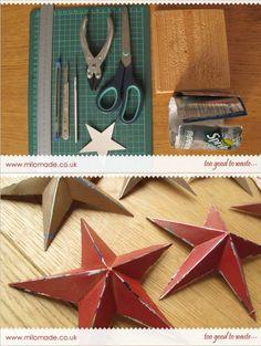 Estrellas decorativas con latas de bebida