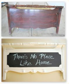 Before & After - Footboard of a bed made into a beautiful display chalkboard and hanging rack.  Love it!