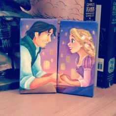 Tangled mini canvas set by Jaysart on Etsy