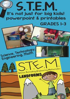 S.T.E.M. made easy with powerpoint slides and PDF printables! Students will learn about landforms through hands-on project-based learning. Grades 1-3 $ #STEM #engineering #landforms