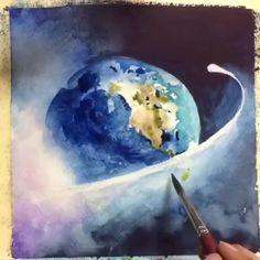 Space Watercolor, Watercolor Art Diy, Watercolor Paintings For Beginners, Floral Watercolor, Watercolor Portrait Tutorial, Stippling Art, Art Assignments, Galaxy Painting, Colorful Drawings