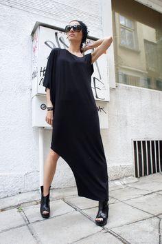 Asymmetrical Black Kaftan / Off Shoulder Dress / Maxi by Aakasha