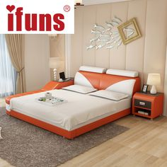 Name:IFUNS Luxury Bedroom Furniture Modern Design Kingu0026queen Size Genuine Leather  Bed With Tatami Storage