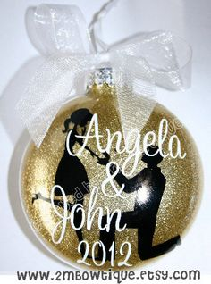 This is for ONE round glittered glass Engagement Christmas Ornament personalized for the soon to be bride and groom! This ornament is not a round