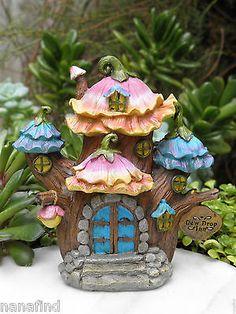 Miniature Dollhouse FAIRY GARDEN ~ Flower Tree House FAIRYTALE Dew Drop Inn NEW
