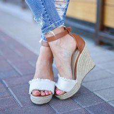 c57480666eed Women Wedge Sandals Casual Peep Toe Adjustable Buckle Sandals