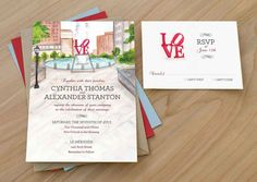 Philly Love Park Wedding Invitation, Watercolor Wedding Invitation, Watercolor Invitation, Philadelphia wedding invitation, LOVE theme by HandPaintedWeddings on Etsy https://www.etsy.com/listing/211102096/philly-love-park-wedding-invitation