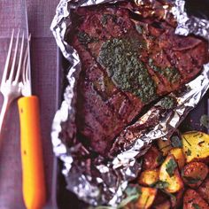 G. Garvin | Grilled T-bone Steaks With Parsley And Garlic Sauce
