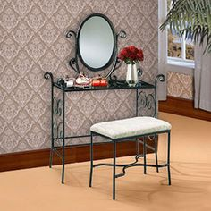 I just got this vanity (with mirror) at goodwill, score! It may not be exact... But I am now looking for a bench to either match or that will work well enough.  Also not opposed to finding something I can cover and make unique to match.