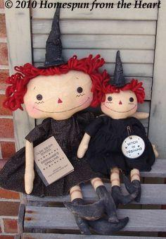 Primitive Raggedy Witch Doll Set raggedy doll by CindysHomespun