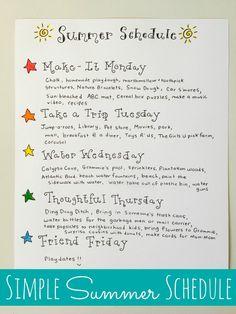 Simple Summer Schedule