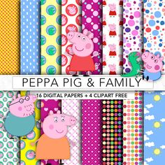 Peppa Pig digital paperPeppa Pig by GraphicFarm on Etsy