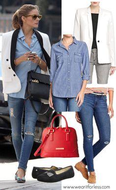Distressed jeans, Oxford shirt, white tuxedo blazer, black flats