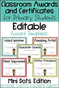 These end of the year awards are perfect to recognize your students for their unique talents and abilities! These awards are EDITABLE and feature a Mini Polka Dot background. Perfect for Primary Students and Elementary Students in Kindergarten, First Grade, Second Grade, Third Grade, Fourth Grade, or Fifth Grade! Back to School idea - Use these awards year round for positive reinforcement as a good behavior incentive or for rewarding individual student academic accomplishments and achievements.
