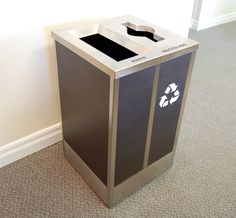 Looking for a smaller footprint? See our Champs Elysees Square Double Stream Recycling Bin in Stainless Steel / Laminate Finishes