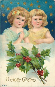 Christmas Angels~Yellow Blue Girls~Elbows on Clouds~Blue Star Night~Emboss~1911 | eBay