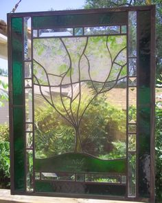 Custom Family Tree-Stained Glass Window Panel  -  personalized with your family.
