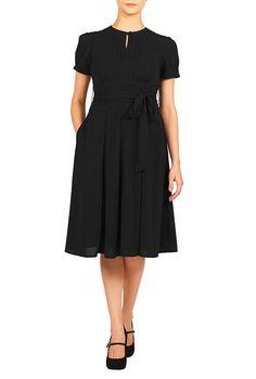 1930s Style Day Dresses eShakti Womens Puff sleeve sash waist crepe dress $67.95 AT vintagedancer.com
