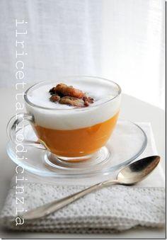 Cappuccino di zucca con castagne croccanti alla pancetta affumicata / Cappuccino of pumpkin with crispy chestnuts  smoked bacon