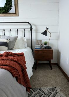 Modern Farmhouse Guest Bedroom   See how to easily blend the farmhouse look with modern finishes. Get all the modern farmhouse bedroom decor resources in the post! So many awesome farmhouse bedroom ideas. #farmhousebedroom #modernfarmhouse #bedroomideas