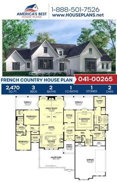 Fall in love with this French Country design giving you 2,470 sq. ft., 3 bedrooms, 2.5 bathrooms, the split bedroom layout, an office area, and an open floor plan. Learn all about Plan 041-00265 on our website today. French Country House Plans, Open Layout, Bedroom Layouts, French Countryside, Open Floor, Great Rooms, Bathrooms, Floor Plans, Exterior