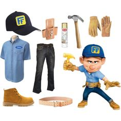 Fix-It Felix, Jr. Cosplay by sweetasandie on Polyvore featuring LaMont, Flexfit, Felix, fix-it felix, wreck-it ralph, dragoncon and cosplay