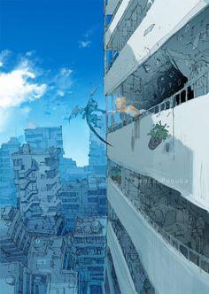 dessin Demizu Posuka mangaka The Promised Neverland. Landscape Concept, Fantasy Landscape, Landscape Art, Fantasy Kunst, Fantasy Art, Manga Art, Anime Art, Perspective Art, Anime Scenery Wallpaper