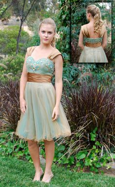 Modest Prom/Homecoming/Formal Blue and Turquoise Knee-Length Dress. $219.00, via Etsy.