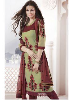 Chic Deep Chestnut Brown & Deep Mahendi Green Salwar Kameez