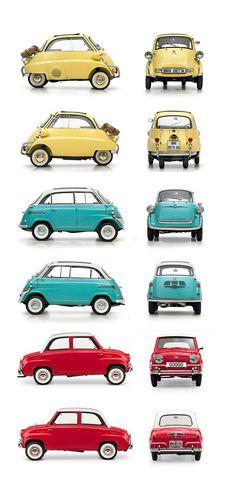 Micromobiles: BMW Isetta 300, BMW Isetta 600, Goggomobil T400 // classic and vintage car design: