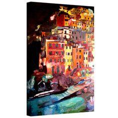 Markus Bleichner 'Magic Cinque Terre Night Riomaggiore' Gallery Wrapped Canvas