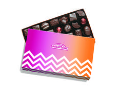 RMCF Dark Assorted Gift Box has our signature Dark Assorted Gift Box with spring themed sleeve. #chevron