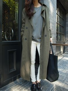 classic trench coat, white jeans, and black loafers