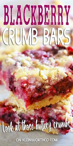 Blackberry Crumb Bars are packed with sweet blackberries & a buttery crust & crumble topping. Perfect to serve at all your spring & summer events. Easy Pie Recipes, Tart Recipes, Baking Recipes, Cookie Recipes, Homemade Desserts, Easy Desserts, Dessert Recipes, Dessert Bars, Yummy Bars Recipe