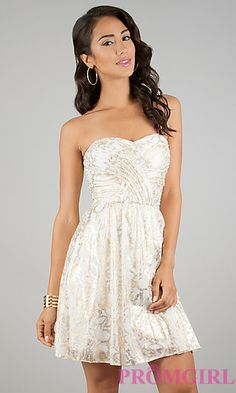 Ivory and Gold Print Short Strapless Dress by Hailey Logan at PromGirl.com ||actually really like this dress, it's so cute!