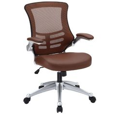 Amazon.com - LexMod Attainment Office Chair with Orange Mesh Back and Leatherette Seat - Desk Chairs