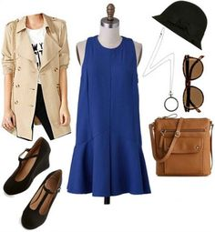 Looks from Books: Nancy Drew - College Fashion | rain jacket, blue dress, *need hat*, *need magnifying glass necklace* or use oversized magnifying glass from classroom, purse I already have, black flats, stockings or white long socks, and sunglasses? OR instead of hat - black wide headband