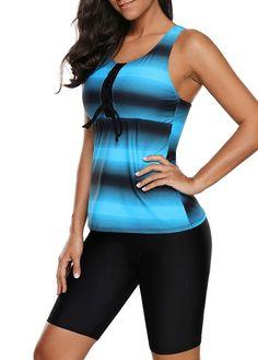 Women Blue Black Stripe Print Racer Back Tankini 2 PC Two Piece Long Board Shorts Swimsuit Set Tankini Top, Racerback Swimsuit, Black Ombre, 2 Piece Swimsuits, Blue Swimsuit, Beach Wear, Plus Size Swimwear, Swim Dress, Bermudas