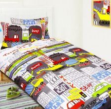 Road Works Ahead Diggers Green Blue Kids Childrens Boys Single Bed ... : car quilt cover - Adamdwight.com