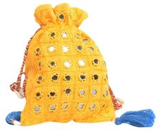 mirror work has done in this yellow potli bag