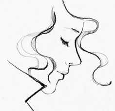 how to draw a pretty sideview lady with big eyes cartoon - Google Search