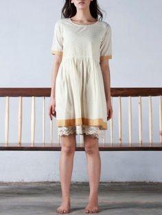 Cream-Mustard Crochet Detailed Textured Gathered Cotton Dress