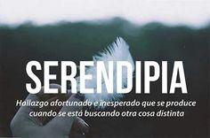 Serendipia: hallazgo afortunado e inesperado que se produce cuando se está buscando otra cosa distinta.