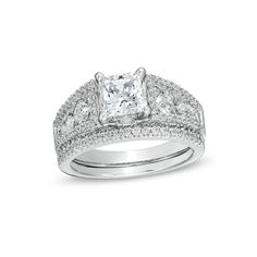 2-1/10 CT. T.W. Princess-Cut Diamond Bridal Set in 14K White Gold -... ($13,549) ❤ liked on Polyvore