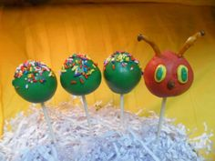hungry Caterpillar cake pops