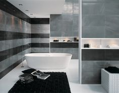 gray bathroom tiles ideas black accents steel visual effect freestanding tub black area rug
