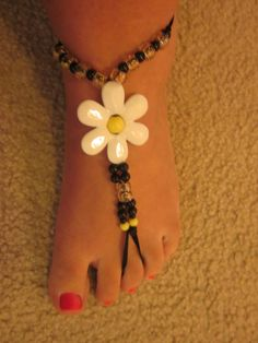 Barefoot Jewelry Sandal Anklet and Bracelet Daisy by HenDuckMeow, $14.00