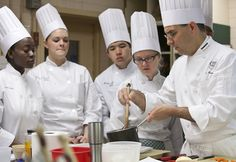 Chef Tony Nogales teaches students in the Skills Kitchen  I The Culinary Institute of America