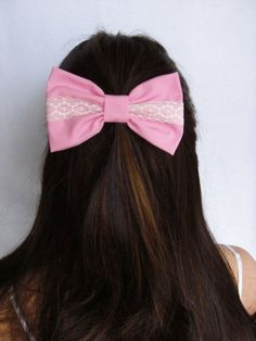 PINK Hair Bow Clip Baby Pink Bow Clip Light Pink Clip Lace Bow Victorian Bows for women Teen Bows Pink Fabric Bow hairbow hairbows bows