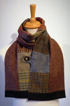 Mens scarves that are both formal and fashionable 2019 Dandyish accessories from the patron saint of buttons This would be a great DIY project! The post Mens scarves that are both formal and fashionable 2019 appeared first on Scarves Diy. Recycled Sweaters, Wool Sweaters, Sewing Clothes, Diy Clothes, Sewing Men, Ladies Clothes, Sewing Hacks, Sewing Projects, Poncho Crochet
